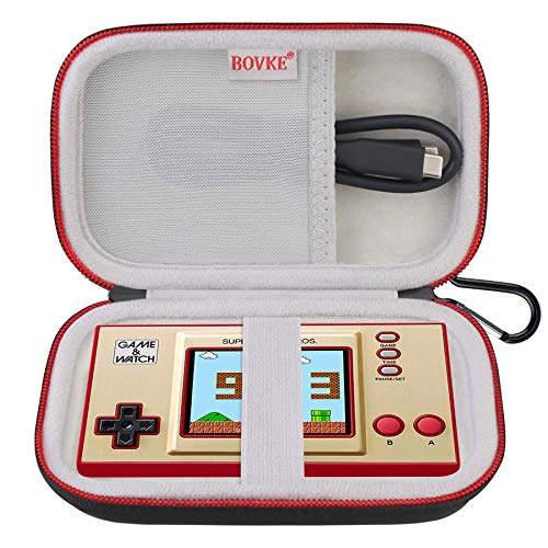 BOVKE Carrying Case For Nintendo Game & Watch: Super Mario Bros Handheld Game Consoles Classic Device, Mesh Pocket for Charging Cable, Black