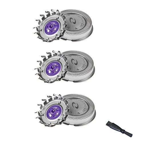 oral-q 3 Stuks Hoofd Dual Shaver Cutters Wasbare Scheermessen Voor Philips HQ56 HQ55 HQ40 HQ3 HQ6695 HQ801 HQ916 Elektrisch Scheerapparaat + Scheermachine Reinigingsborstel