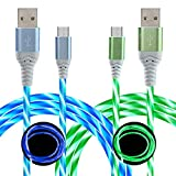 Micro USB Cable 6FT 2 Pack, LED Visible Flowing Light Up Android Charging Cable Fast Phone Charger Cord for Galaxy S7 S6 Edge J7 S5,Note 5 4,LG G4 K40 K20,MP3,Kindle and More (Blue+Green)