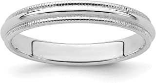 925 Sterling Silver 3mm Half Round Milgrain Size 12.5 Wedding Ring Band Classic Fine Jewelry For Women Gifts For Her