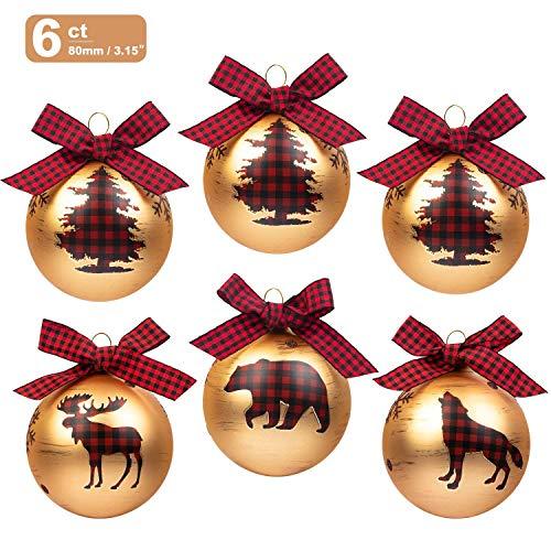 Art Beauty Palline di Natale di vetro 6 ° Decorazioni per l'albero di Natale 8 centimetri Ornamenti di palline di grandi dimensioni con fiocchi di plaid rosso per Xmas Winter Woodland Theme Decor
