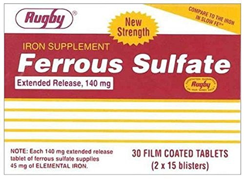 Ferrous Sulfate Extended Release 140mg Tablets 30ct (Compare to Slow FE) (3 Pack)