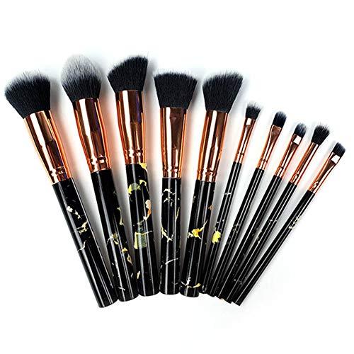 LU KU Pinselset Makeup, Amazon Brand - Roségold Pinsel-Set, 10-TLG. Make-up für Gesicht und Augen | Premium-Qualität handgefertigt weich und Plüsch,A