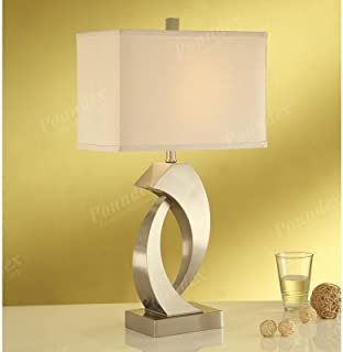 Set of Two Table Lamp with an Abstract Sculpture Base and a Wide Rectangular Shaped Lamp Shade
