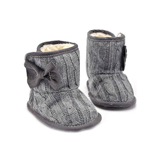 Kfnire Baby Mädchen Stiefel, Kleinkind Winter rutschfeste gestrickte Schnee Stiefel Krippe Schuhe (4,7 Zoll / 6-12 Monate, grau)