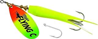 Mepps Flying C Single/Treble Hook Fishing Lure, 5/8-Oz, Hot Chartreuse Sleeve/Firetiger Blade