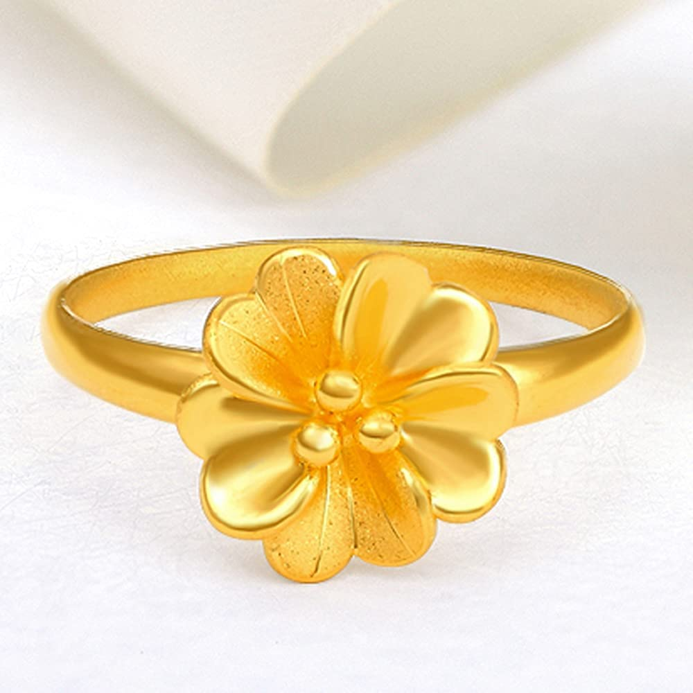 De Lapoll Pure 24K 999 Gold Ring Engagement Anniversary Rings for Women Ladies