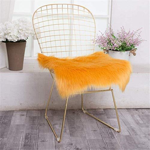 MEEY Pack of 2 Faux Lambskin Seat Cushions Carpet Faux Fur Imitation Longhair Fur Imitation Wool Bed Rug Sofa Ma. (Color : Turmeric, Size : 45 * 45cm)