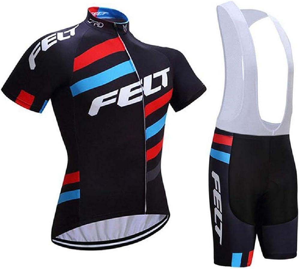 Camiseta Bicicleta Mangas Cortas y Culotte MTB con 5D Gel Pad GHDUKEY Traje de Ropa de Ciclismo para Hombre