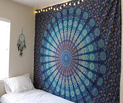 Raajsee Indisch Psychedelic Wandteppich Mandala Blau Turquoise / Elefant Boho Wandtuch Hippie/ Indien Wandbehang Queen baumwolle Tuch 82 x 92 Inches