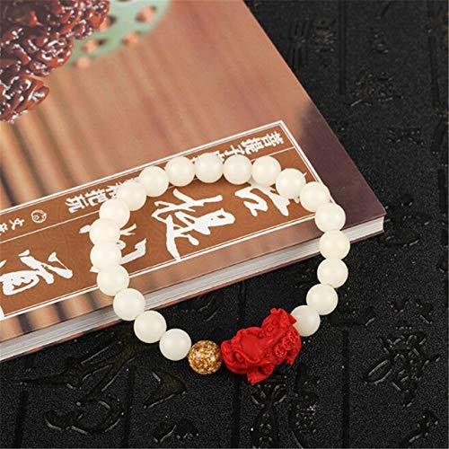 LEIGAGA natuurlijke witte Bodhi wortel Cinnabar Charm armband boeddhistische rozenkrans gebed armband kralen Mala Unisex sieraden