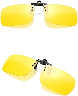 a283ebfd757 2PCS Polarized Day Night Vision Flip-up Clip-on Lens Driving Glasses  Sunglasses For