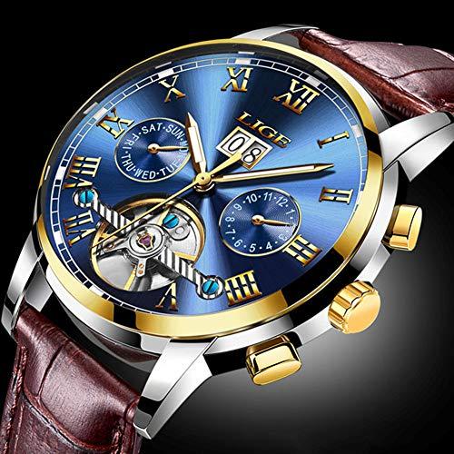 Herren Armbanduhren Automatic Mechanical Uhr Männer Luxuriöse wasserdichte Uhren Uhr Herren mit Lederband, Woche und Kalenderanzeige