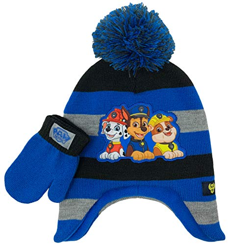 Paw Patrol Winter Hat and Glove Set, Boys Ages 2-5 Blue