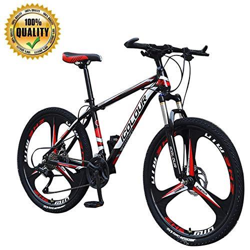 KaiKai M-TOP Mens Mountain Bike 24 Zoll Rad, Carbon Steel Federgabel Gravel Road Fahrrad, 3-Speichen-Räder Trail Bike mit Doppelscheibenbremsen, Trigger-Schaltung, Rot, 21-Gang