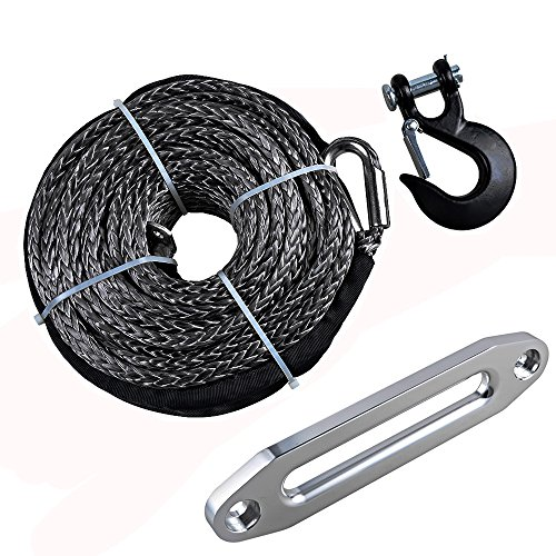 """Price comparison product image 95' x 3 / 8"""" Synthetic Winch Rope Cable + Hook + 10"""" Hawse Fairlead Replacement for Jeep Accessories ATV UTV KFI Truck Boat"""