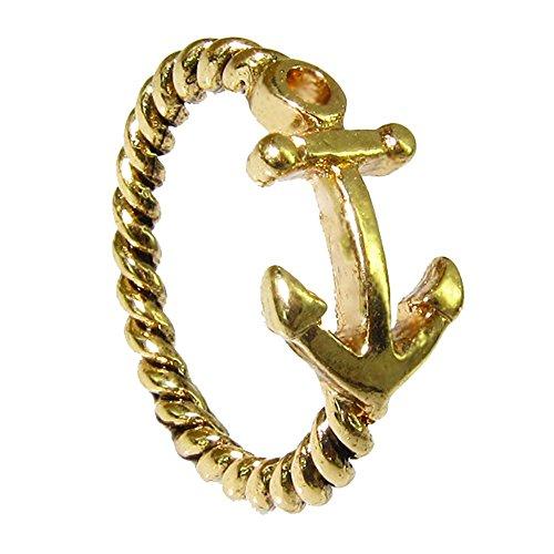 Outletissimo Anillo de Alianza con Ancla para la Suerte, Tono Dorado, para Hombre y Mujer, náutica, Oferta UN52