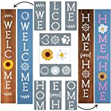 Large Stencils for Painting on Wood Reusable, Welcome Stencil, Daisy Sunflower Stencil and Other Wood Stencils, Wood Craft Supplies for Spring Porch Signs, Letter Stencils Plus Free Rub-On Stickers
