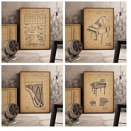 DLFALG Stampe per Pianoforte Vintage Steinway Decor Musica Arte Retro Soggiorno qualità Pittura Home Decor Nursery Camera dei Bambini Poster su tela-40x50cmx4 Senza Cornice