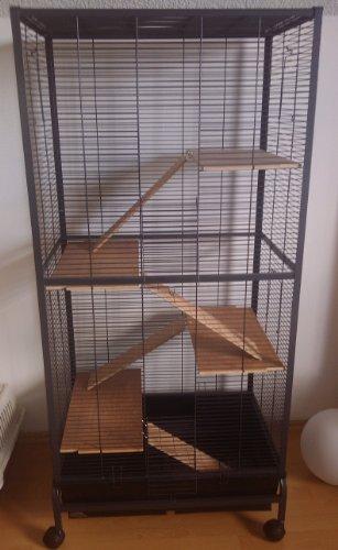 Montana Cages ® | Nagervoliere, Käfig für Nager Malaga II - Antik im Bauhaus Stil für Hamster, Mäuse & Co. RIESIG