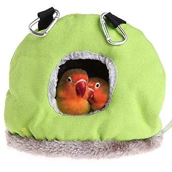 DUOCACL Hiver Chaud nid d'oiseau Rond Doux nid d'oiseau Petit Oiseau en Peluche Cage Hiver hamac Suspendu