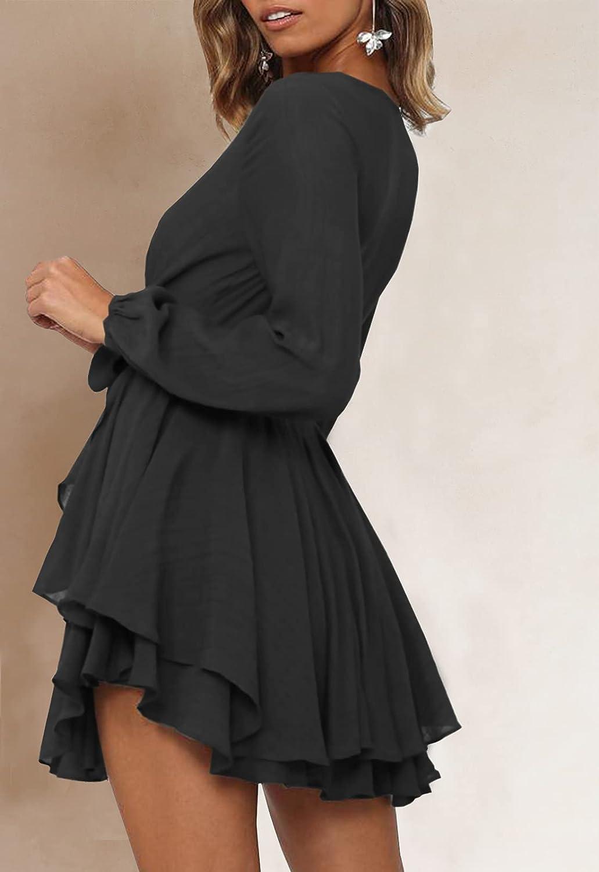 Ferlema Women's Sexy V Neck Ruffle Long Sleeve Tie Waist Casual A Line Swing Mini Wrap Dress