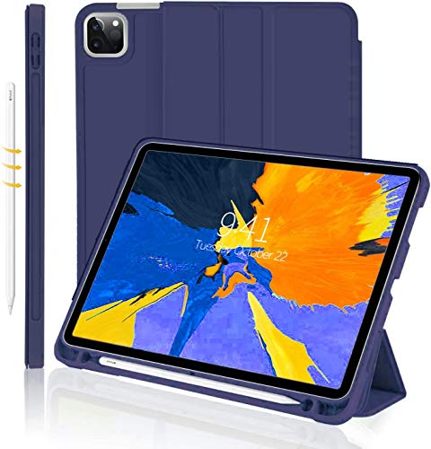 Oaky Folio Cover for Apple iPad Pro 11 inch 2020 2nd Gen. Rugged Shockproof, Trifold Stand,Auto Wake/Sleep Pencil Holder Cover Support 2nd Gen. Pencil Charging – Navy Blue