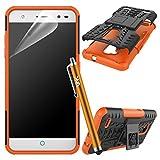 ZTE Blade V7Lite caso, resistente armadura resistente a prueba de golpes Constructor rígida atril, con protector de pantalla y lápiz capacitivo naranja