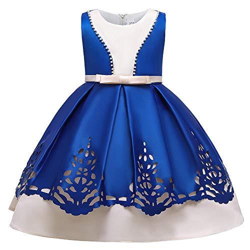 WTFYSYN Vestido de Navidad Vestido de Encaje para niñas,Vestido de Noche de niñas Vestido de Princesa, Servicio de Rendimiento de Piano Hueco-Color Azul_120 cm