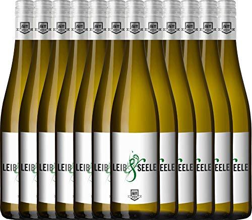 VINELLO 12er Weinpaket Weißwein - Leib & Seele Cuvée feinherb 2019 - Bergdolt-Reif & Nett mit Weinausgießer | feinherber Weißwein | deutscher Sommerwein aus der Pfalz | 12 x 0,75 Liter