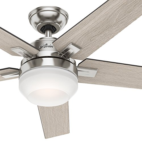 Hunter 54inch Contemporary Indoor Ceiling Fan with Light Kit and Remote Control Brushed Nickel Finish