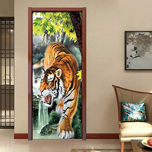 Shah Türposter Door Sticker Door Poster Tiger Murals 3D Fototapete Tür Aufkleber Wohnkultur PVCWasserdicht Selbstklebende Schlafzimmer Dekoration Tür Aufkleber Wandbild 77X200CM