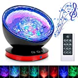 Ocean Wave Projector,12LED Night Light Lamp with Adjustable Lightness Remote Control Timer, 8 Color Changing Lighting Modes Projector Lamp Perfect Choice for Baby Bedroom Decoration