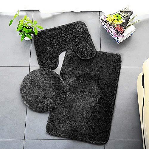 ETOPARS Tappeto da Bagno Tinta Unita 3 Pezzi Tappetino da Bagno Morbido Assorbente Antiscivolo Tappeti e Set di copriwater Lavabile, Nero