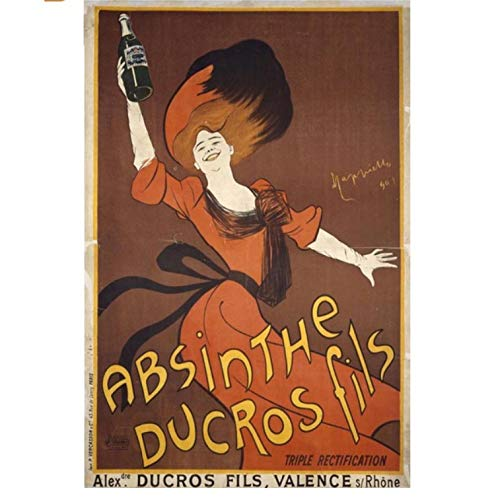 NVRENHUA Absinth Poster Art Nouveau Poster Home Dekoration Mode Leinwand Druck Bild Wandkunst Dekoration Gemälde 42 * 60Cm Rahmenlos