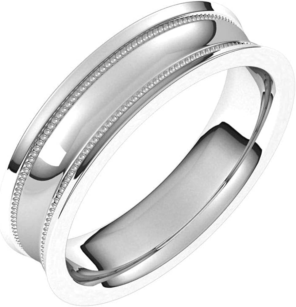 Tarnish Max 41% OFF Resistant Solid Limited price sale 925 Sterling Silver Milgrain Concave 5mm