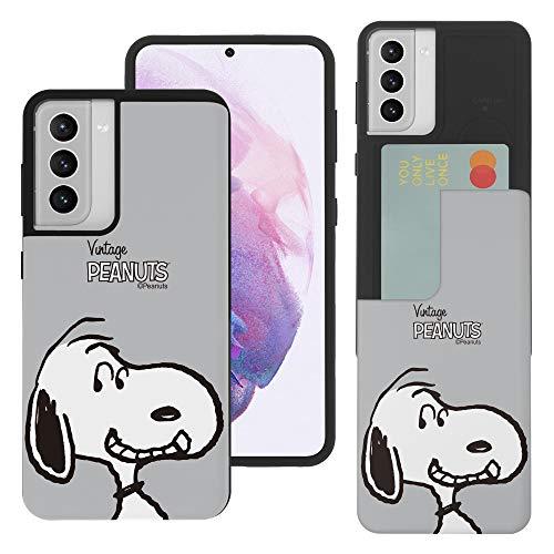 """Galaxy S21 ケース と互換性があります Peanuts Snoopy ピーナッツ スヌーピー カード スロット ダブル バンパー スマホ ケース 【 ギャラクシー S21 ケース (6.2"""") 】 (面 スヌーピー) [並行輸入品]"""