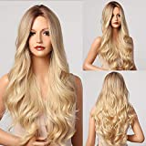 E-FOREST Blonde Wigs for Women Long Wavy Wig Ombre Blonde Wig Long Curly Hair Wig Middle Part Wig Dark Roots Heat Resistant Synthetic Wigs 26 Inch