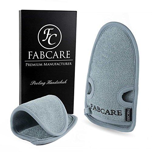 FABCARE Peelinghandschuh [2 Stück] aus Bambus - Reinigt Porentief für Körper & Gesicht - Peeling Handschuh für Hamam & Dusche - Massagehandschuh Grob für Körperpeeling