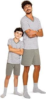 Conjunto de pijama Curto - Gola V - Listrado Lupo Masculino (Adulto)