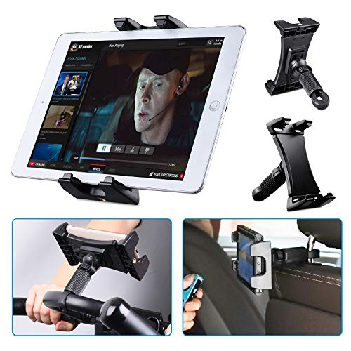 Tendak Exercise Bike Tablet Holder, Portable Car Headrest Treadmill Exercise Gym Handlebar Microphone Stand Mount 360° Adjustable Bracket for iPad Pro, iPad Mini, iPad Air 4.7-12.9' Tablets Cell Phone