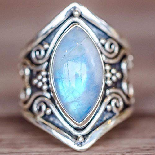 Zhiwen Antique Boho 925 Silver Natural Moonstone Women Jewelry Elegant Gemstone Wedding Ring Size 6-10 (US Code 10)