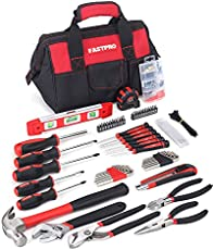 FASTPRO 215-Piece Home Repairing Tool Set with 12-Inch Wide Mouth Open Storage Bag,Household Hand Tool Kit