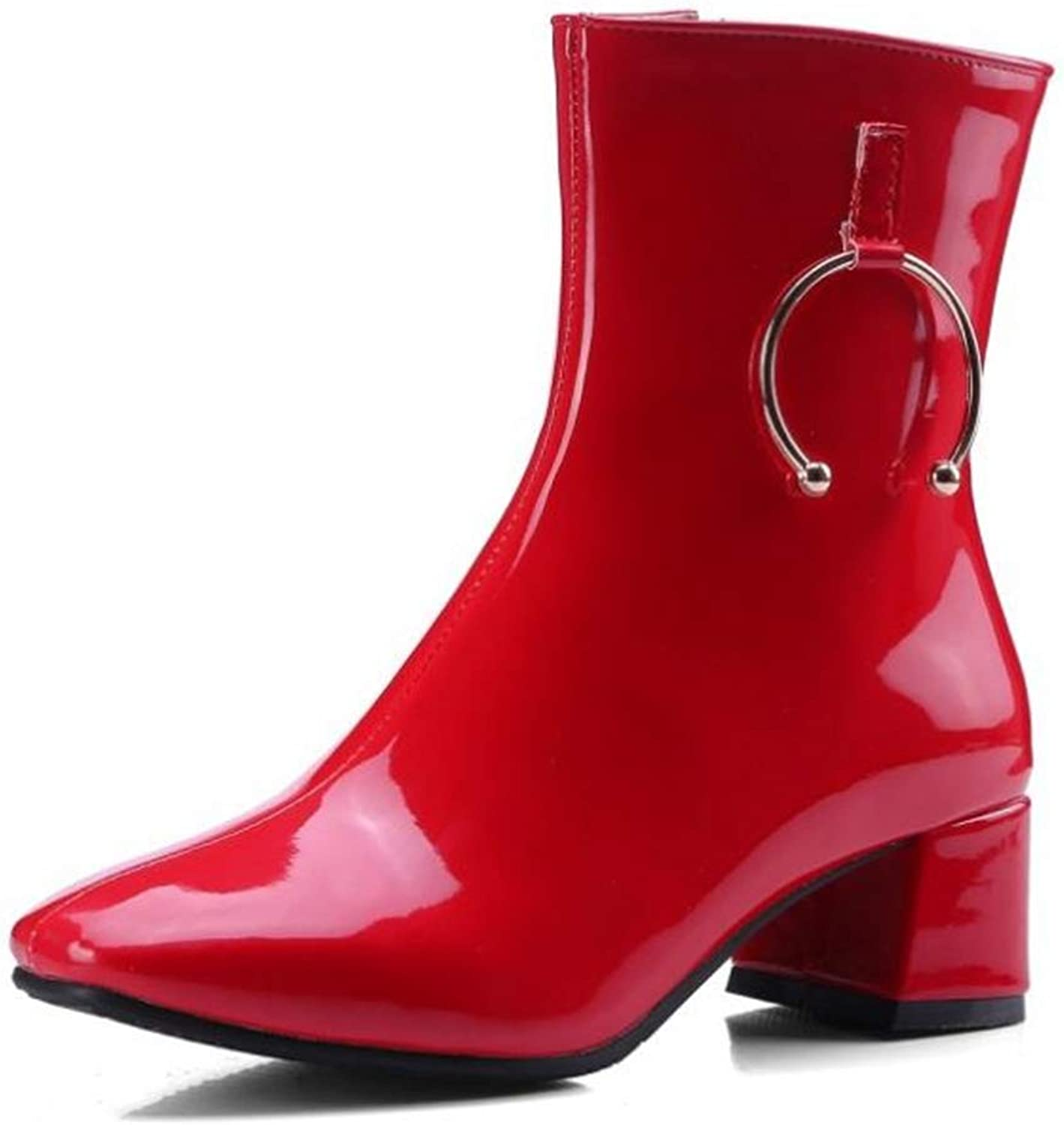 Womens Stylish Comfortable Low Block Heel Side Zipper Ankle Boot