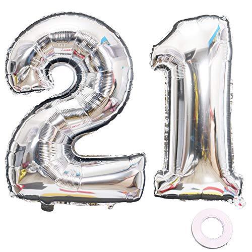 Juland Luftballons 12. 21. Geburtstag XXL Riesen Folienballon Luftballon Zahl 21 Silber Nummer Ballons Große Folienmylar-Ballons 40-Zoll-Riesen-Jumbo-Zahl-Ballons zum 21. Geburtstag Partydekorationen