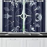 ZANSENG Cortinas Opacas para Cocina Ojete Sala con Aislamiento térmico Signos del Zodiaco Círculo sobre Cortinas de Cielo Oscuro para Sala de Estar, 2 Paneles de Cortina de Ventana