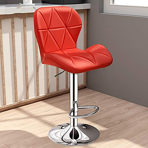 SHJR Taburete de Bar Giratorio, Silla de Cocina, Silla de Oficina, rotación de 360 ° y sillas de Barra Ajustables en Altura con Respaldo de 34 cm, taburetes de Comedor,Rojo,High