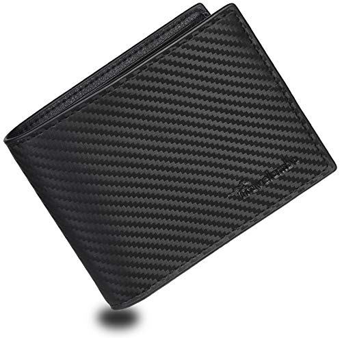 Travelambo Genuine Leather RFID Blocking Wallets Mens Wallet Bifold Left ID (Carbon Black)