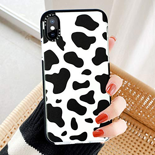 Abbery Designed for iPhone 12/ iPhone 12 Pro Case, Cute Cow Print Clear Silicone Phone Cover Cows Pattern Cases Compatible for iPhone 12/12 Pro 6.1' (2020)