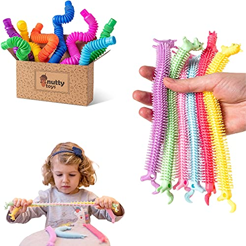 NUTTY TOYS Pop Tube Sensory Toy 8 Pack & Stretchy Fidget Strings 6 Pack - Fine Motor Skills for Toddlers, Kids & Adults - Best Boys Girls Tweens & Teens ADHD Fidget Gift